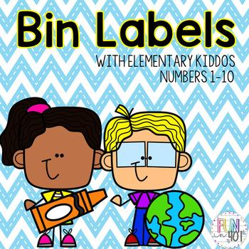Bin Labels with Elementary Kids Clip Art