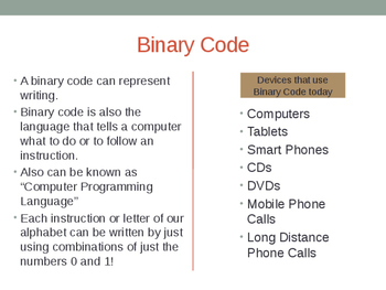 Binary Code Powerpoint, Coding for Victorian Curriculum