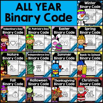 Binary Code STEM Activities - All Year Bundle
