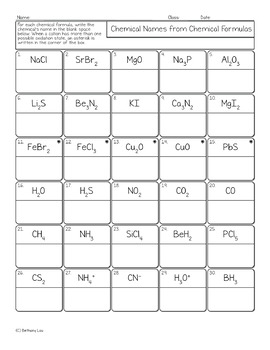 Binary Compound Chemical Names from Formulas Chemistry Homework Worksheet