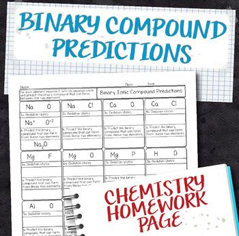 Binary Compound Predictions Chemistry Homework Worksheet