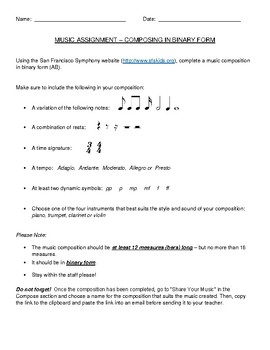 Binary Form Music Composition Assignment