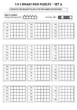 Binary Number Grid Puzzles - 5 x 5 grids, 24 puzzles, Notes, answer key incl.