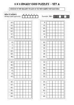 Binary Number Grid Puzzles - 6 x 6 grids, 16 puzzles, Notes, answer key incl.
