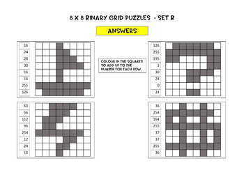 Binary Number Grid Puzzles - 8 x 8 grids, 12 puzzles, Notes, answer key incl.