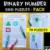 Binary Number Grid Puzzles - Pack, 79 puzzles, answer keys included, BEST SELLER