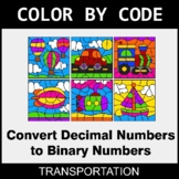 Binary Numbers - Color by Code / Coloring Pages - Transportation