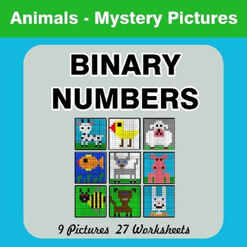 Binary Numbers - Mystery Pictures / Color By Number - Animals