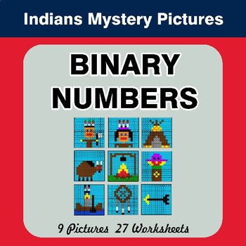 Binary Numbers - Mystery Pictures / Color By Number - Indians
