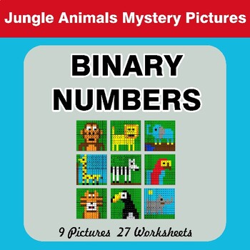 Binary Numbers - Mystery Pictures / Color By Number - Jungle Animals