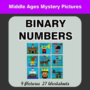 Binary Numbers - Mystery Pictures / Color By Number - Middle Ages