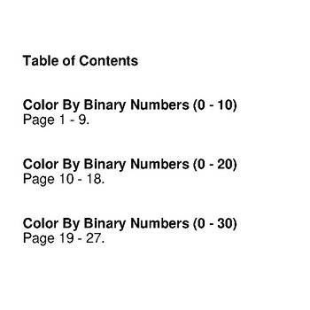 Binary Numbers - Mystery Pictures / Color By Number - Outer Space