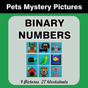 Binary Numbers - Mystery Pictures / Color By Number - Pets