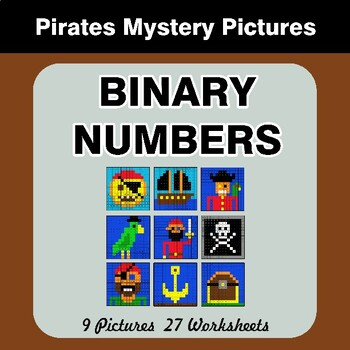 Binary Numbers - Mystery Pictures / Color By Number - Pirates