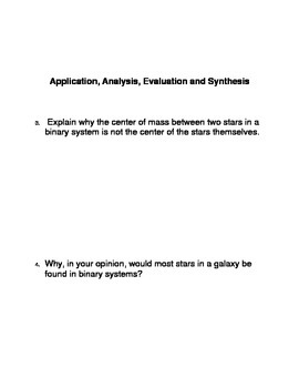 Binary Star Systems Common Core Reading and Writing Activities