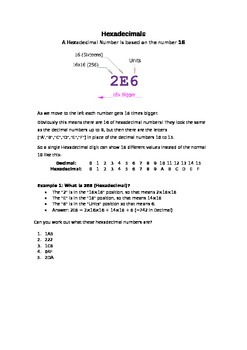 Binary and Hexadecimal Number Systems Worksheet