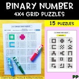 Binary number Grid Puzzles - 4 x 4 grids, 15 puzzles, Notes, answer key incl.