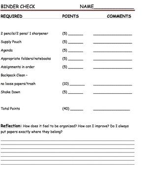 FREE - Binder Check - Grades 3-9