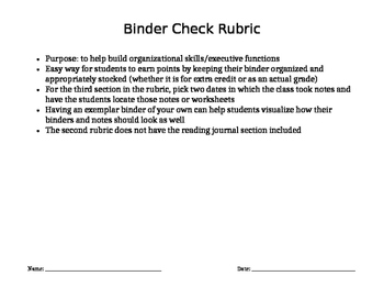 Binder Check Rubric (with AND without reading journal)