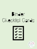 Binder Checklist Cards