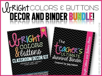 Binder & Classroom Decor BUNDLE: Bright Colors and Buttons