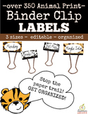 Binder Clip Labels: Animal Print Theme (Editable)