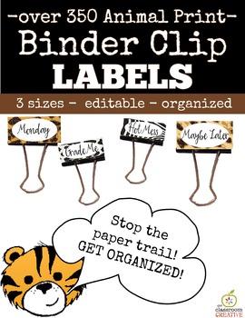 Binder Clip Labels: Animal Print Theme (Editable)