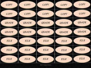 Binder Clip Labels - Black & Pink Mini Polka Dots - UPPERCASE