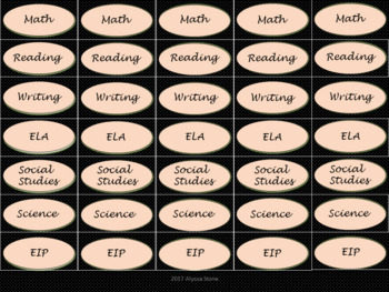 Binder Clip Labels - Black & Pink Mini Polka Dots - lowercase