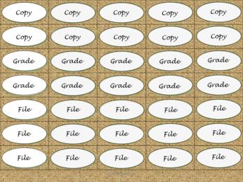 Binder Clip Labels - Burlap - lowercase