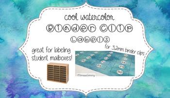 Binder Clip Labels {Cool Watercolor} 32mm