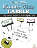 Binder Clip Labels: Star Theme ( 3 sizes and Editable)