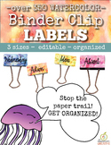 Binder Clip Labels:  Watercolor Theme (Editable)