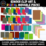 Binder Clipart & Digital Movable Pieces: Open, Closed, Div