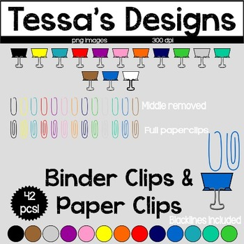 Binder Clips & Paper Clips Clipart