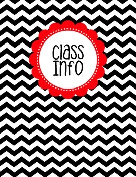 Binder Cover - Black & White Chevron with Red Class Info Label
