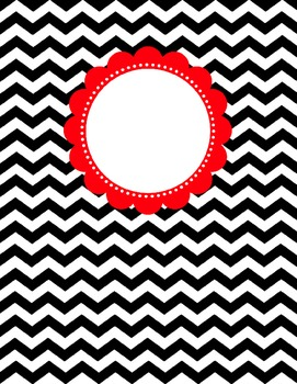 Binder Cover - Black & White Chevron with Red Customizable Label