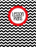 Binder Cover - Black & White Chevron with Red Lesson Plan Label
