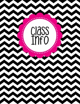 Binder Cover - Black & White Chevron with Magenta Class Info Label