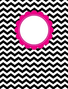 Binder Cover - Black & White Chevron with Magenta Customizable Label