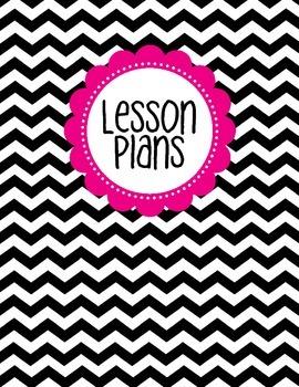 Binder Cover - Black & White Chevron with Magenta Lesson Plan Label