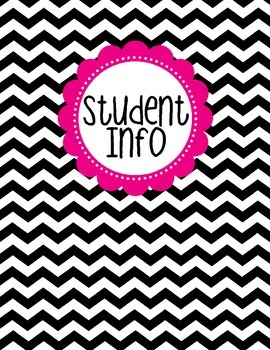 Binder Cover - Black & White Chevron with Magenta Student