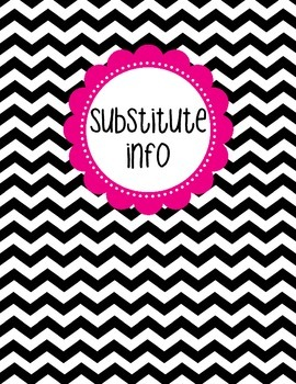 Binder Cover - Black & White Chevron with Magenta Substitute Info Label