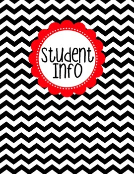 Binder Cover - Black & White Chevron with Red Student Info Label