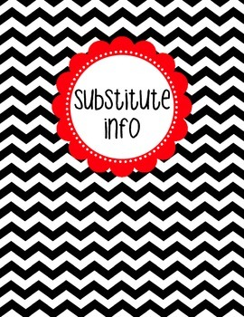 Binder Cover - Black & White Chevron with Red Substitute Info Label