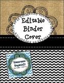 Binder Cover Burlap & Black Chevron