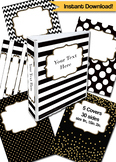 Binder Cover Editable Black, White, and Gold Binder Covers