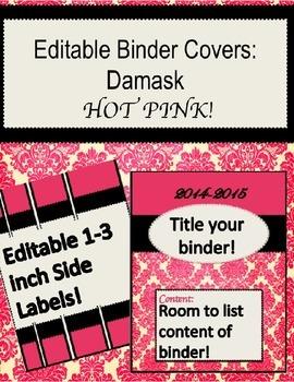 Binder Cover-Hot Pink Damask Pattern ~ Editable