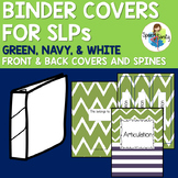 Binder Covers for SLPs: Green, Navy, & White
