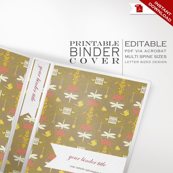 Binder Cover - Printable Editable Garden Theme - Multiple Spine Sizes